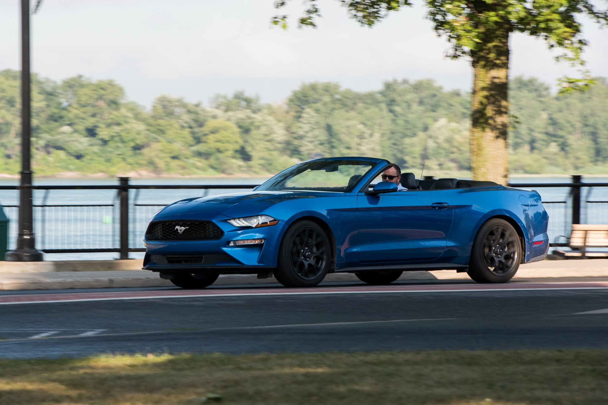 ford mustang ecoboost convertible driving shot  claveys corner